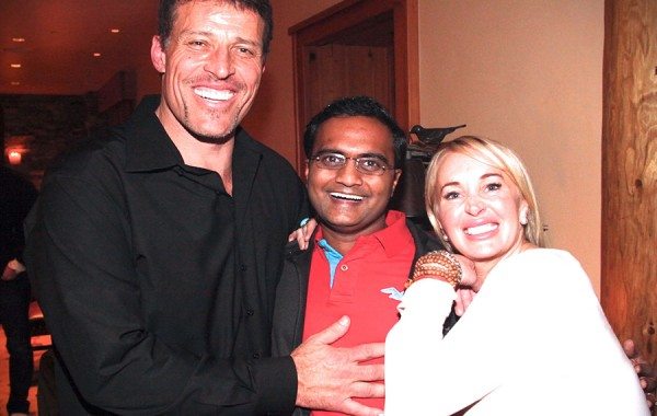 Praveen Narra with Tony Robbins and Sage Robbins