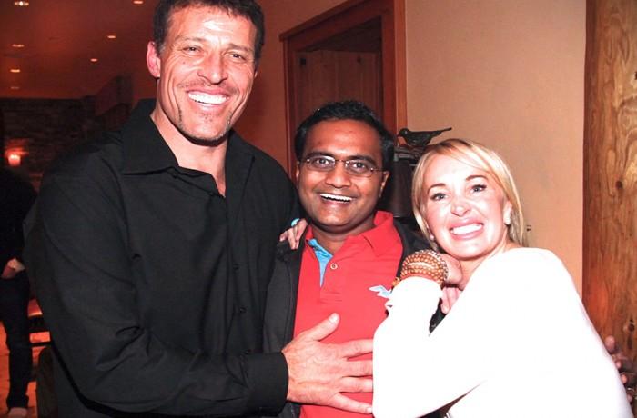 Praveen Narra with Tony Robbins and Sage Robbins