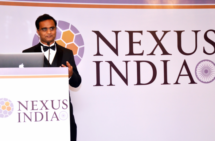 Praveen Narra speaking at Nexus India Launch Event
